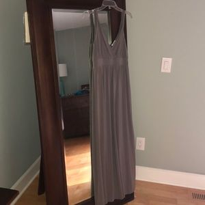 Garnet Hill empire waist grey maxi dress